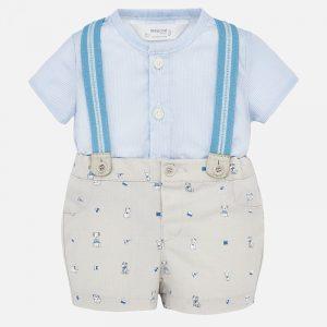 Conjunto camisa y pantalón corto tirantes bebé recién nacido