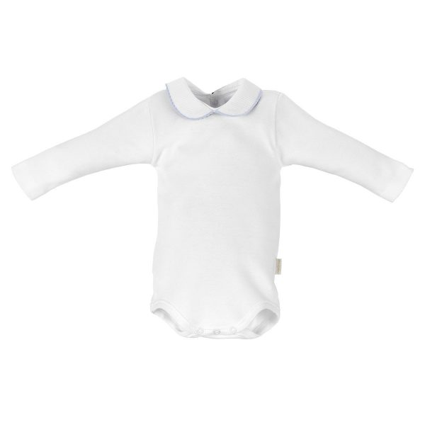 Body Blanco Manga Larga Cuello Croquet Celeste