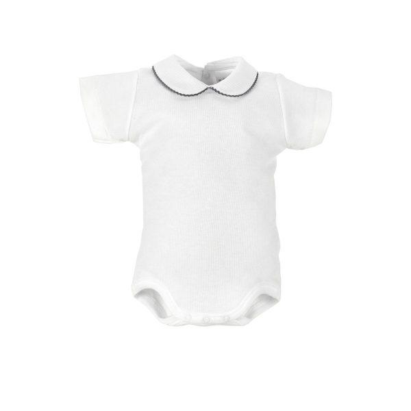 Body Blanco Manga corta Cuello Croquet Gris