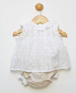 Conjunto dos piezas camisa de plumeti blanca y culetín de flores