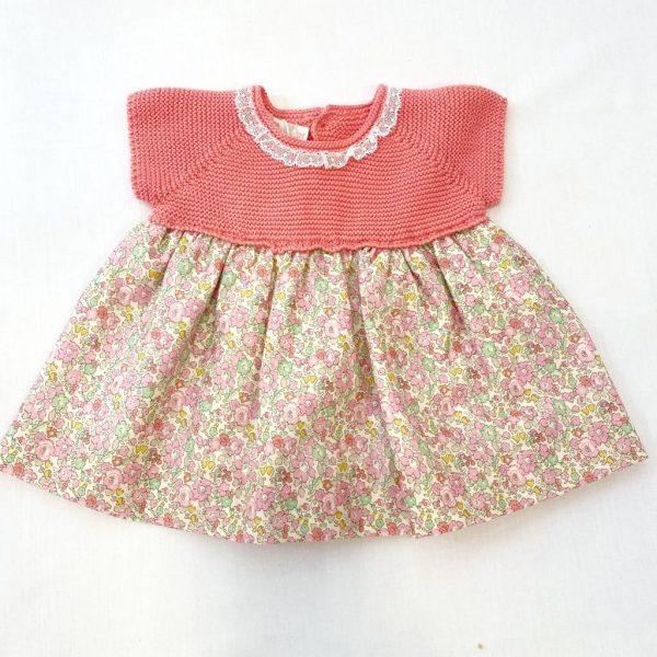Vestido Punto Flores Coral