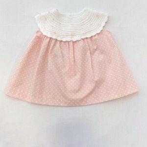Vestido Rosa Bebé Topitos y Cuello