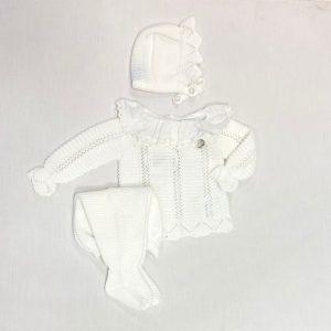 Conjunto tres piezas manga larga y polaina calado con cuello plumeti Blanco