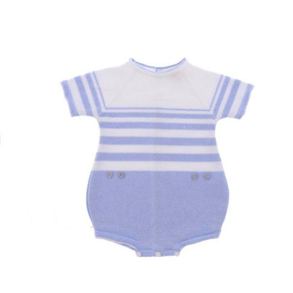 Ranita manga corta punto de algodón rayas celeste y blanco. 100% algodón.