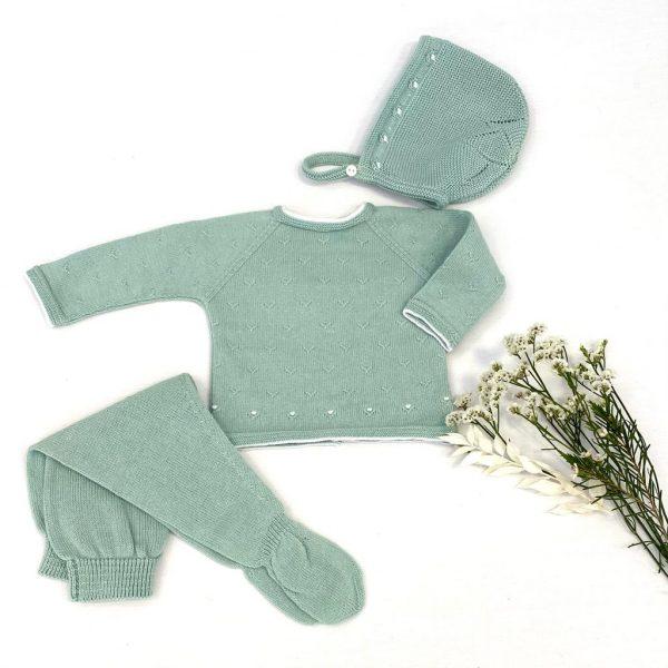 Conjunto tres piezas jersey manga larga y polaina con capota bodoques. 100% algodón.