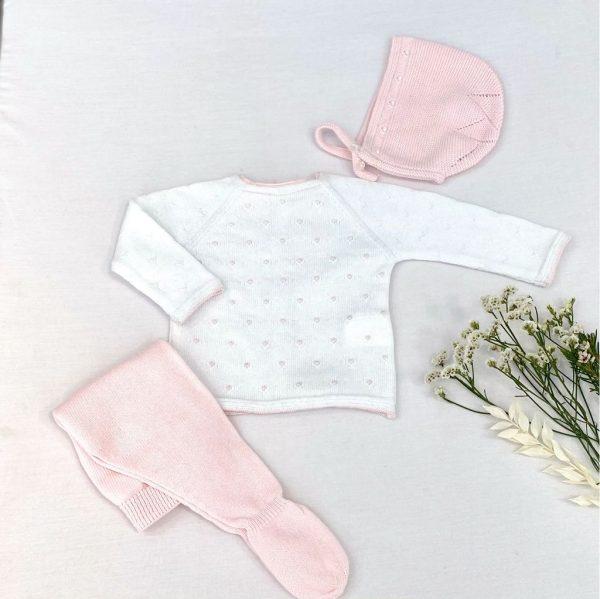 Conjunto tres piezas jersey manga larga y polaina con capota bodoques. 100 % algodón.