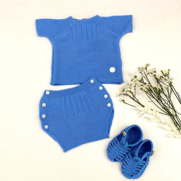 Conjunto dos piezas de punto jersey manga corta . 100% algodón. Azul.