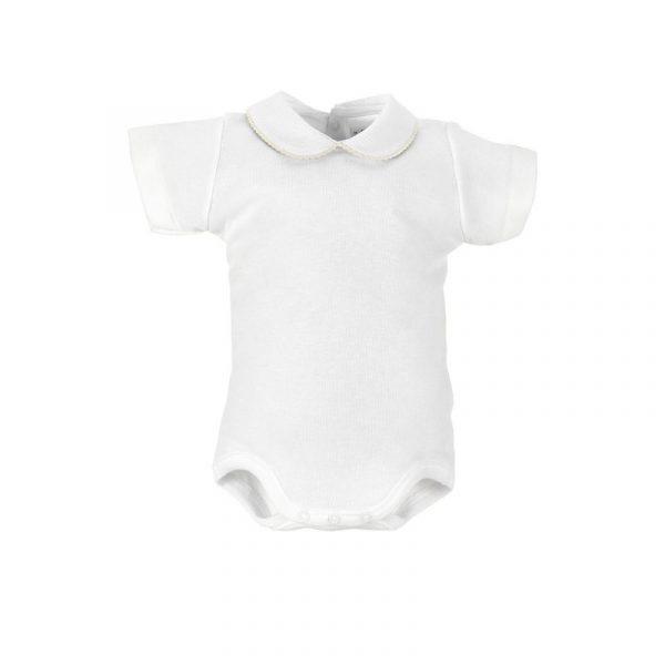 Body Blanco Manga corta Cuello Croquet Beige