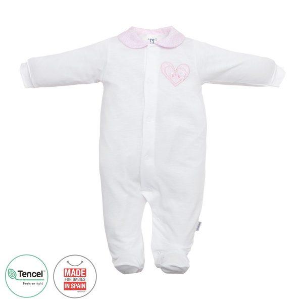 Pelele Largo pijama tencel Blanco cuello corazón