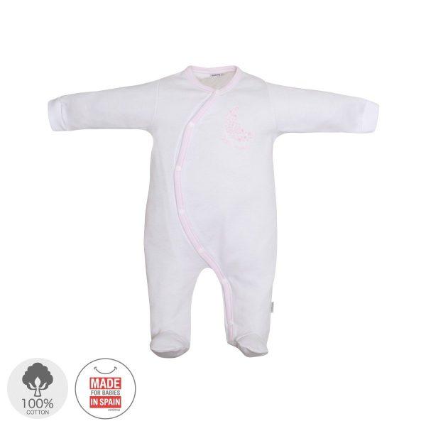 Pelele cruzado largo Pijama algodón Blanco Luna Ro