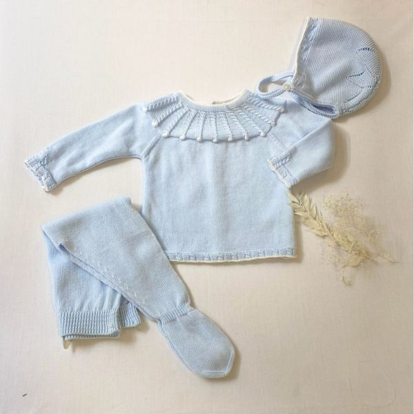 Conjunto tres piezas jersey manga larga y polaina con capota bodoques y trenzas