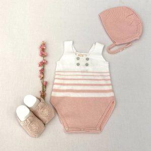 Pelele punto rayas blanco rosa