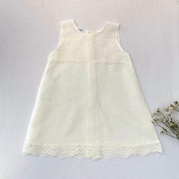 Vestido de lino encajes ceremonia