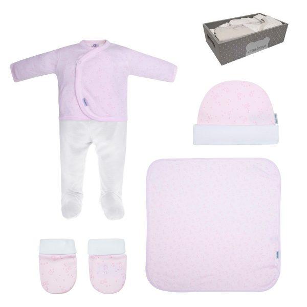 Conjunto primera puesta de 5 piezas rosa