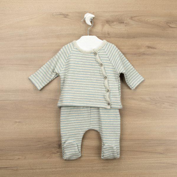 Conjunto gris rayas azules polaina y jersey abertura lateral Eternal
