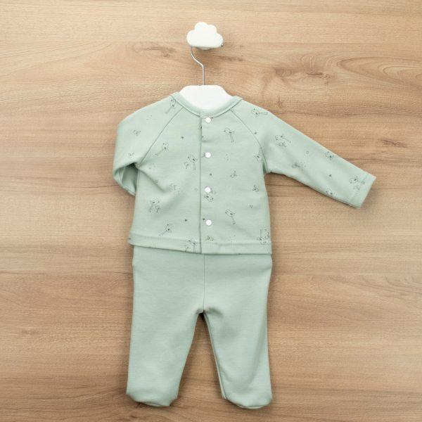 Conjunto dos piezas polaina y jersey pollitos botones lateral Rondine verde