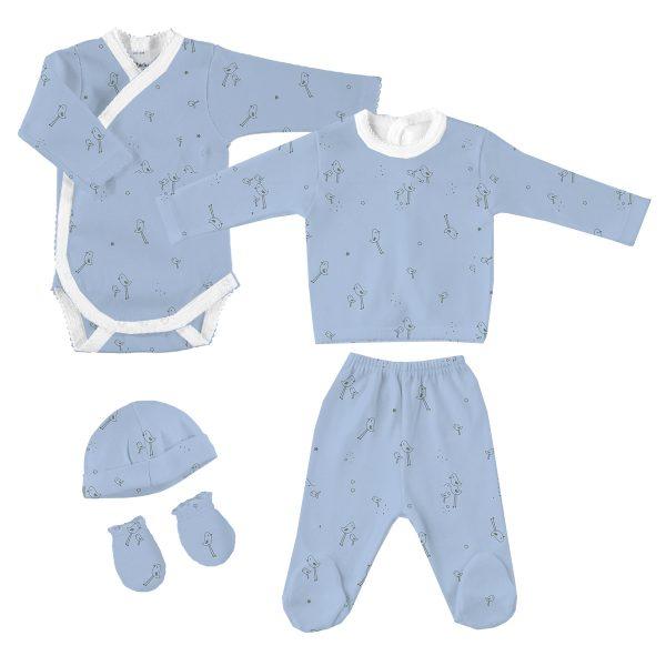 Pack de nacimiento con dos jersey manga larga, polaina gorro y manoplas pollitos Rondine celeste