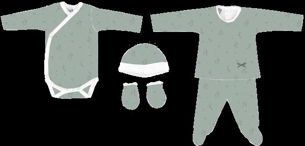 Pack de nacimiento con dos jersey manga larga, polaina gorro y manoplas pollitos Rondine verde