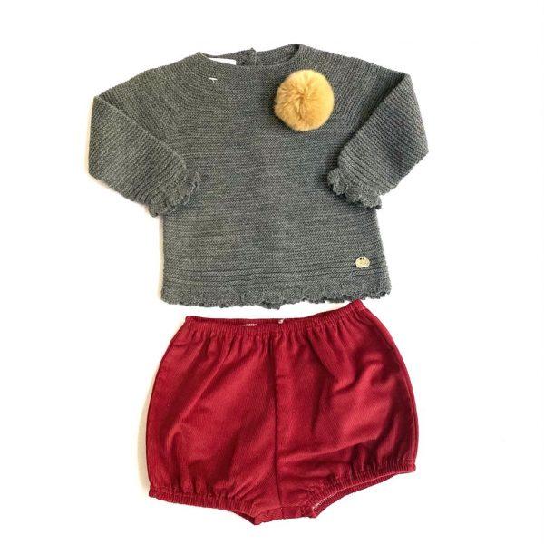 Conjunto dos piezas, jersey antracita rioja, culetín pana