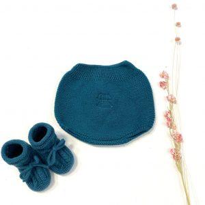 Culetín de invierno elaborado en punto de dralón azul jade