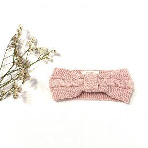 Diadema de punto rosa palo