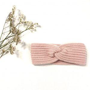 Diadema nudo de punto rosa palo
