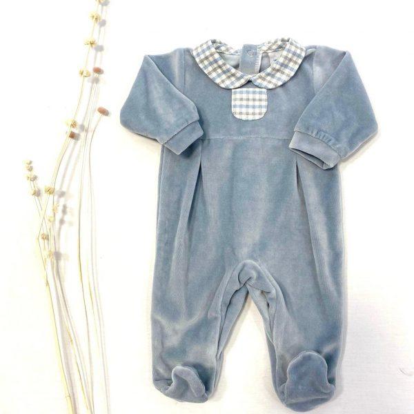 Pelele terciopelo gris cuello bebe cuadros y bolsillo botones atrás