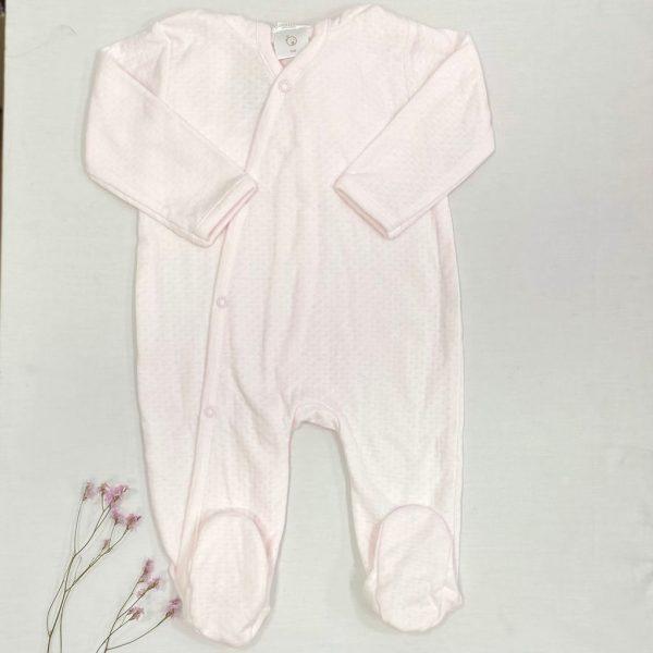 Pelele largo broches cruzado algodón troquelado rosa