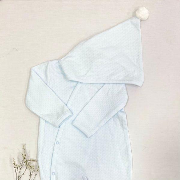 Pelele largo broches cruzado algodón troquelado azul