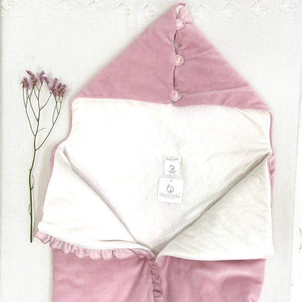 Saco / arrullo rosa palo de terciopelo con cremallera y pompón