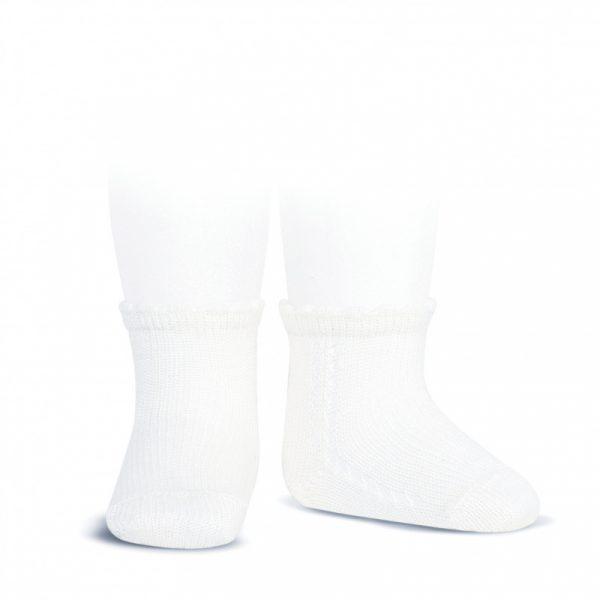 Calcetín corto de algodón perlé con calado en el lateral blanco Cóndor