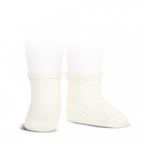 Calcetín corto de algodón perlé con calado en el lateral cava Cóndor