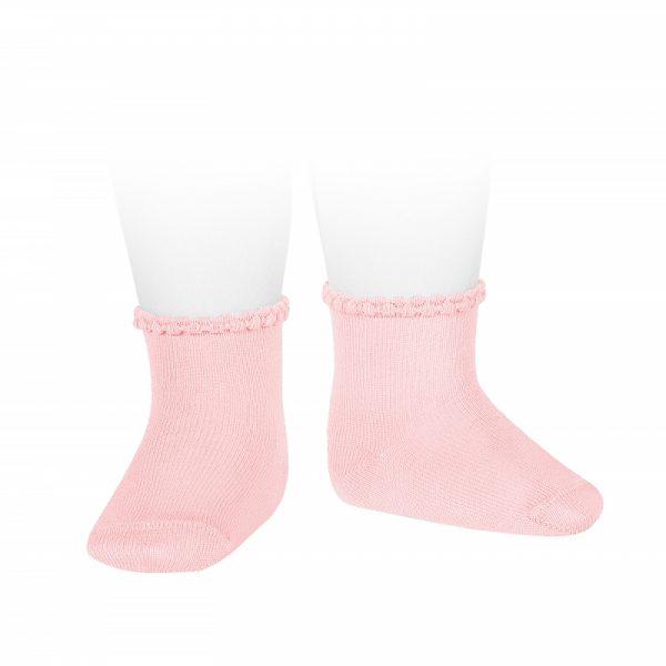 Calcetines cortos puño labrado primavera rosa Cóndor