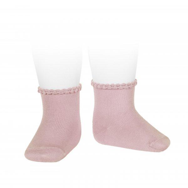 Calcetines cortos puño labrado primavera rosa palo Cóndor