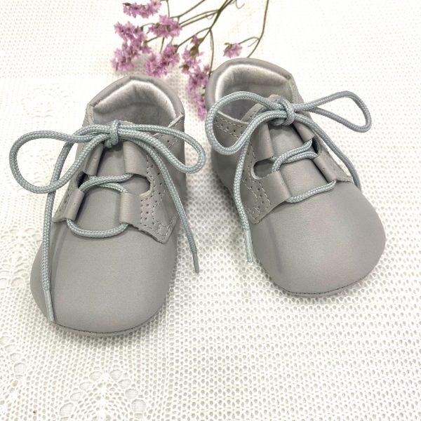 Zapato inglés napa gris perla
