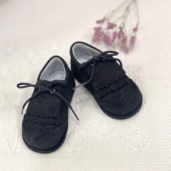 Zapato bluchers flecos, con suela serraje antracita