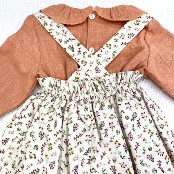Conjunto pichi flores con camisa manga larga naranja