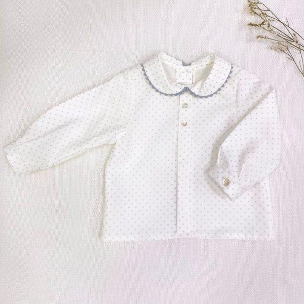 Camisa manga larga cuello bebé zig zag gris estrellas