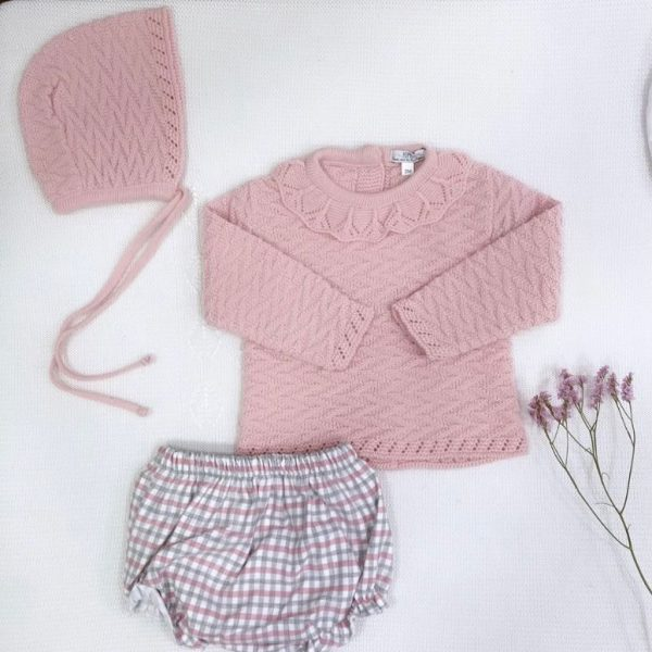 Conjunto tres piezas jersey punto invierno cuello bebé culetín y capota