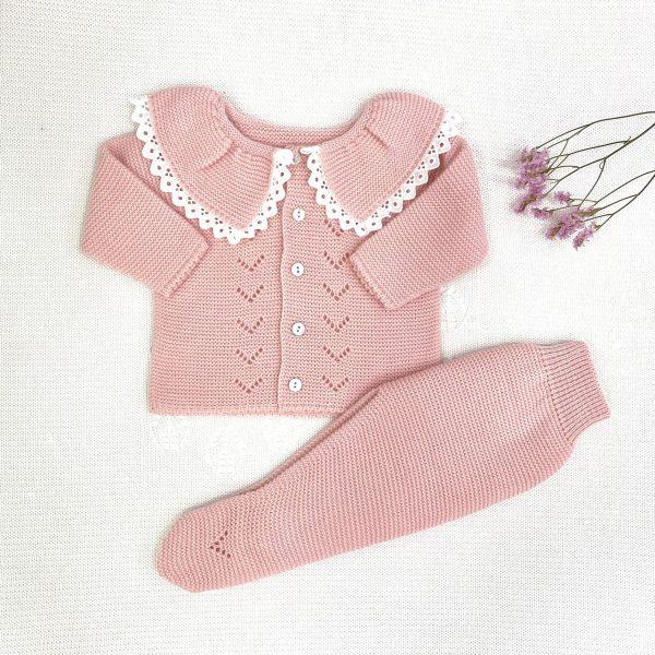 Conjunto 2 piezas jersey cuello encajes, polaina rosa empolvado