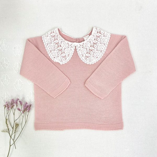 Jersey cuello torchón punto invierno rosa