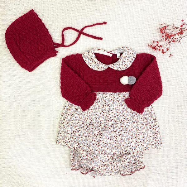 Vestido punto invierno cuello bebe estampado con capota y culetín
