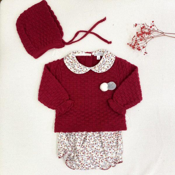 Conjunto de ropa jersey punto invierno cuello bebe culetín y capota a juego