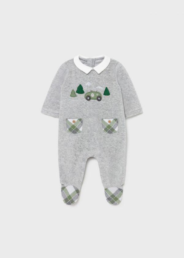 Pelele pijama de terciopelo con cremallera trasera, con botones abajo y pies cubiertos bolsillos decorativos