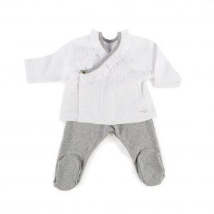 Conjunto 2 piezas jersey, polaina bambula blanca