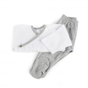 Conjunto 2 piezas jersey, polaina bambula blanca niño