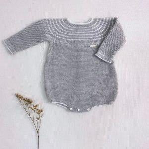 Pelele manga larga punto invierno gris rayas blancas