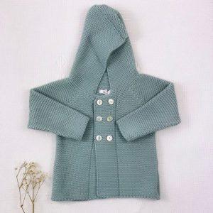 Abrigo trenca punto invierno botones y capucha verde seco