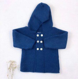 Abrigo trenca punto invierno botones y capucha