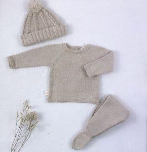 Conjunto tres piezas punto invierno jersey polaina y gorro pompón arena